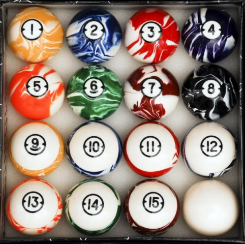 Classic Marble Style Pool Table Billiard Ball Set